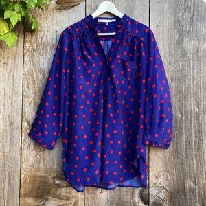 fun 2 fun purple red polka dot blouse 2XL B26